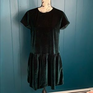 ELIRIE Green Velvet Drop Waist Dress Size M